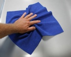 Blue microfiber car cleaning towel