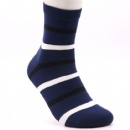 Bar mark dark blue middle size comfortable cotton socks